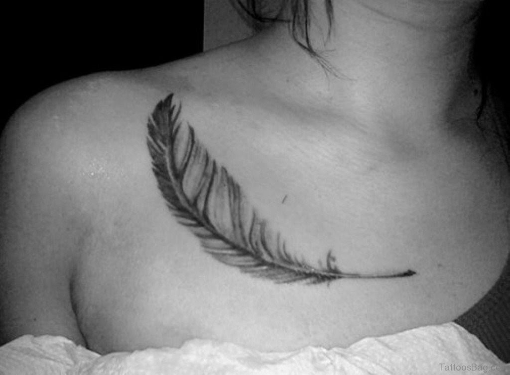 39 Cute Feather Tattoos On Chest