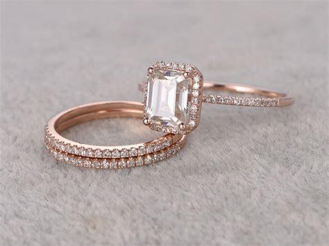 Emerald Cut Moissanite Engagement Rings Diamond Wedding