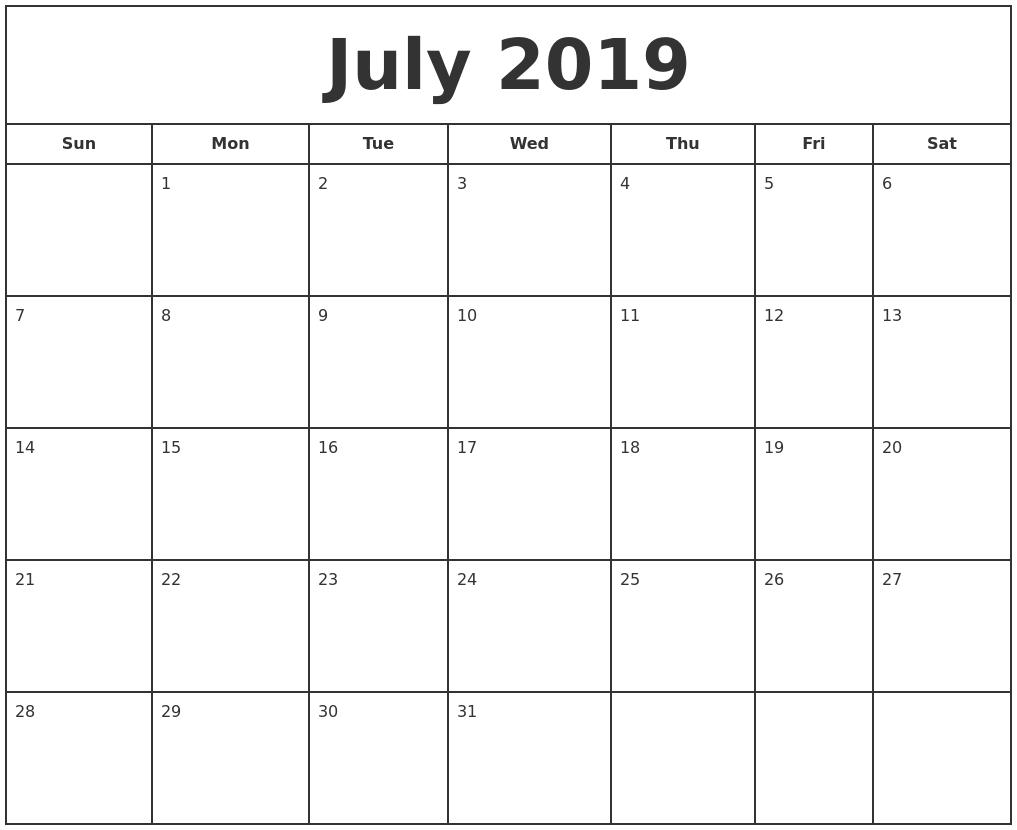 july 2019 print free calendar