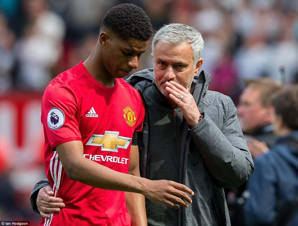 Mourinho consoles the dejected Rashford as United's Champions League hopes are dealt a blow at Old Trafford