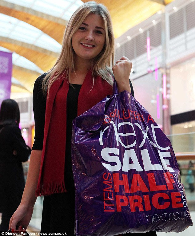 Success! Eleanor Cowlam, 18, joined thousands of shoppers at Highcross in Leicester to treat herself