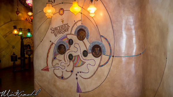 Disneyland Resort, Disney California Adventure, Hollywood Land, Frozen, Fun, Animation, Building, Sorcerer's Workshop, Ursula's Grotto, Closed, Abstract, Mickey, Mouse, Head