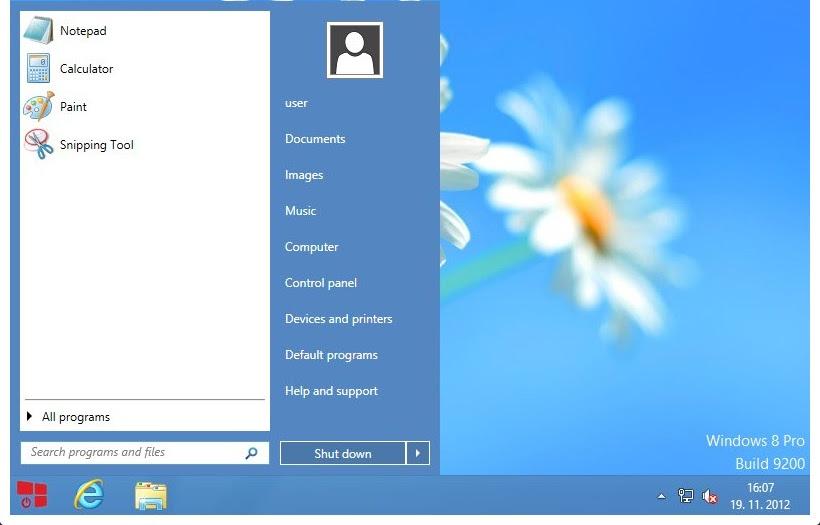 Start button menu windows 8