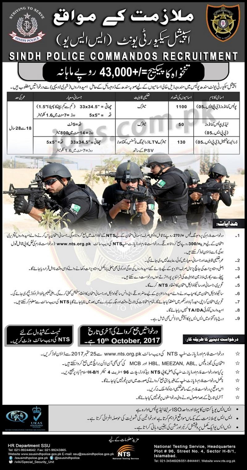 Sindh Police Jobs  Police Commandos And