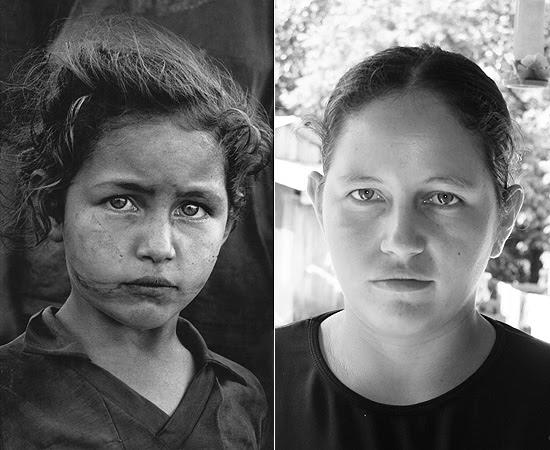 À esquerda, foto feita por Sebastião Salgado em 1996; à direita, Joceli hoje, no acampamento Fazenda Rio Grande, do MST