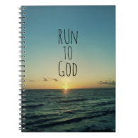 Inspirational Christian Quote Run to God Spiral Notebooks