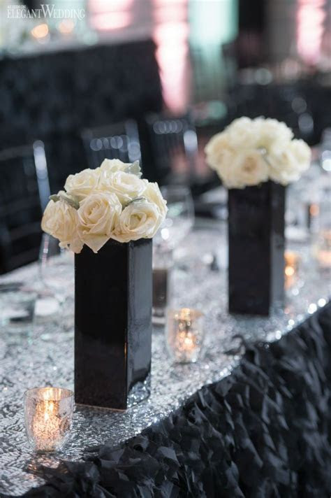 Black & White Wedding Inspiration   CENTERPIECES   White