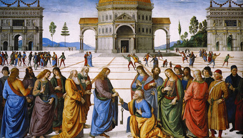 Jesús le da a San Pedro las llaves del reino de los cielos en Mateo 16, 18-19
