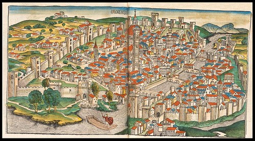 1493 map of Florence  in Schedel's Nuremburg Chronicle (p. 246)