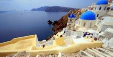 Foto idilica de la isla de Santorini (Grecia)