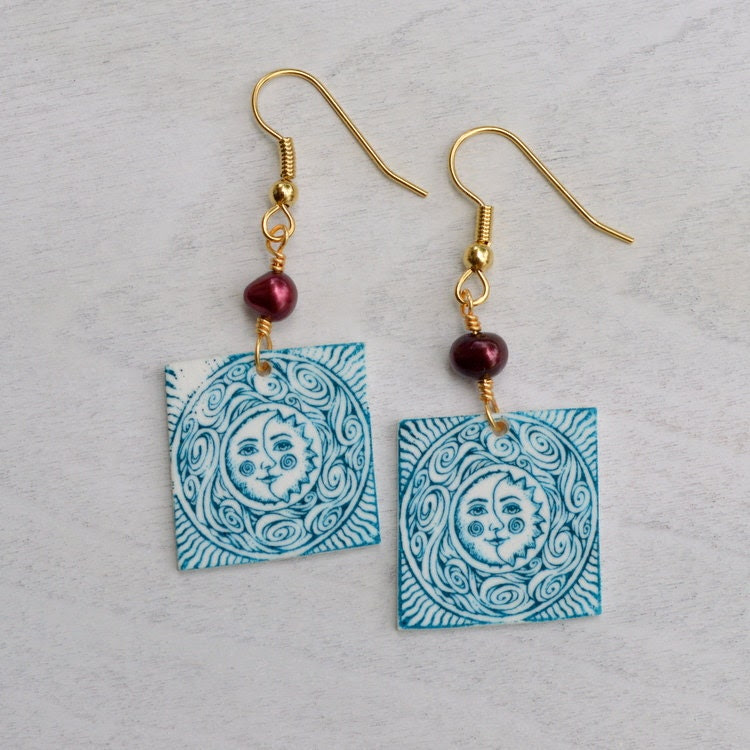 Aqua Celtic Sun Moon Swirls Mauve Pearl Earrings Hypoallergenic - StalkingTheWildSnark