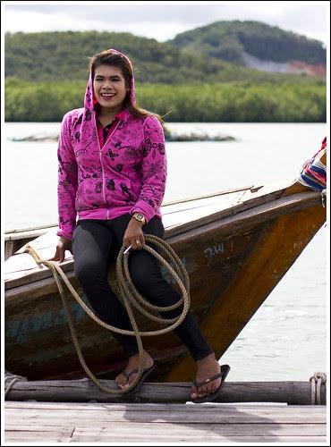 Staff and longtail boat at Bang Mud Seafood