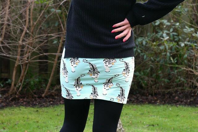 blue tiger skirt back