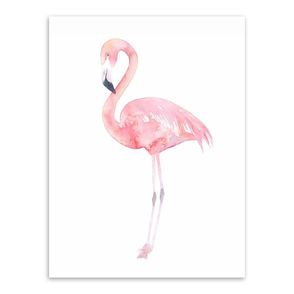 Satın Al Ome Dekor Boyama Hat Modern Suluboya Hayvan Pembe Flamingo