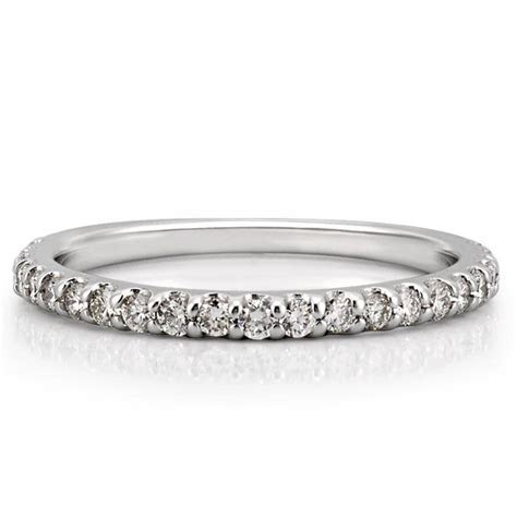 Shared Prong Wedding Band   Delicate Shared Prong Diamond