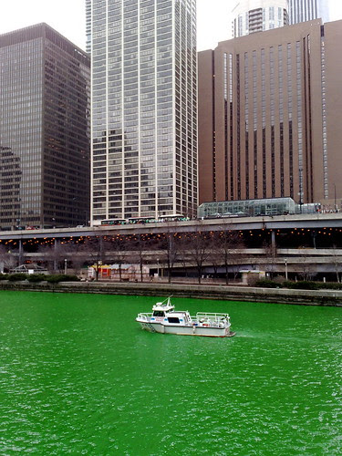 Chicago River dyed green by Marit and Toomas Hinnosaar on Flickr