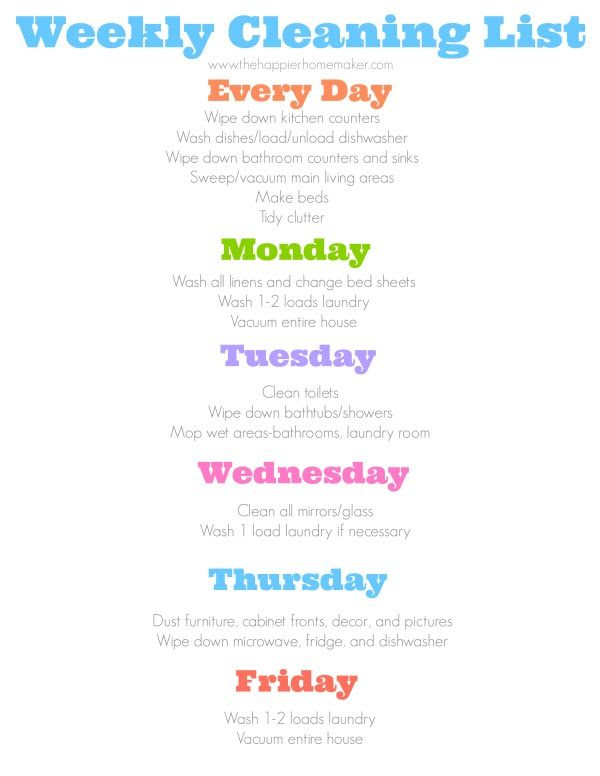 1000+ ideas about Daily Cleaning Checklist on Pinterest | Cleaning ...