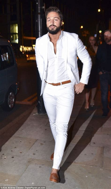 whiteout mens casual suit outfit   beige accent