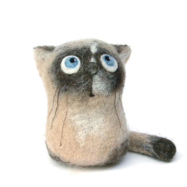Mel, the Siamese Kitten - felt art toy