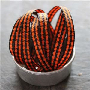 Mini Check Ribbon - Orange/Black
