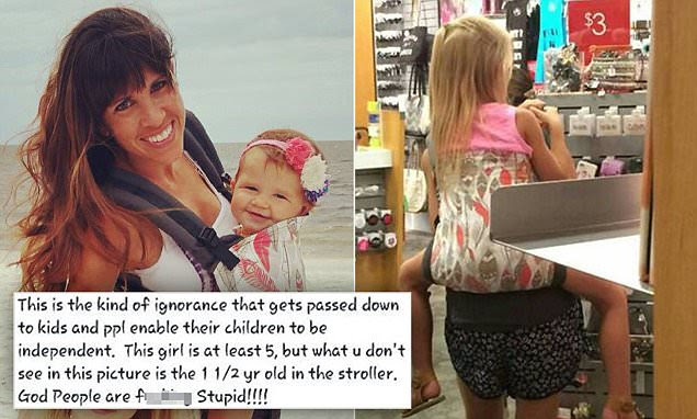Icing store manager shamed woman for carrying sick daughter, 5, in baby carrier
