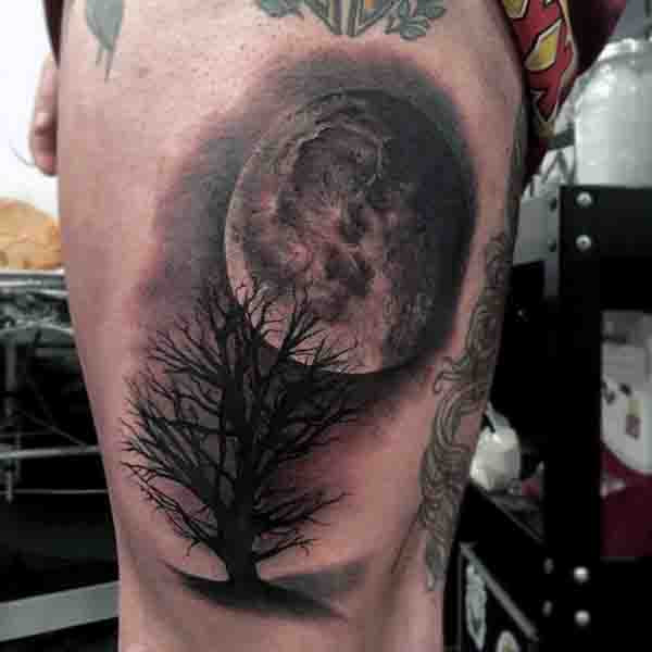 90 Moon Tattoos For Men Ship Of Light On The Sea Of Night