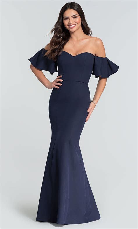Off the Shoulder Sleeved Long Wedding Guest Dress