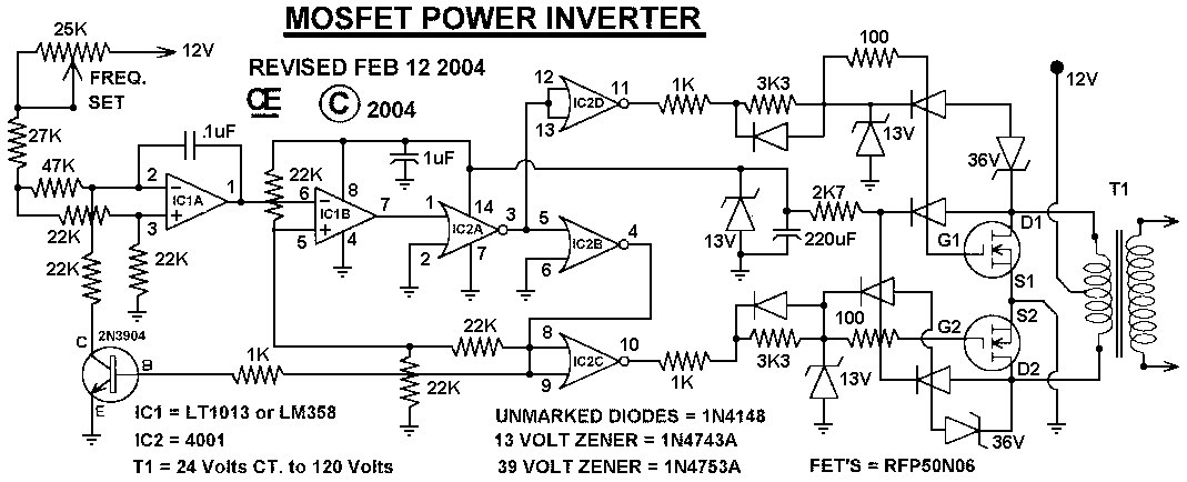 12vdc to 220vac inverter circuit 1000w