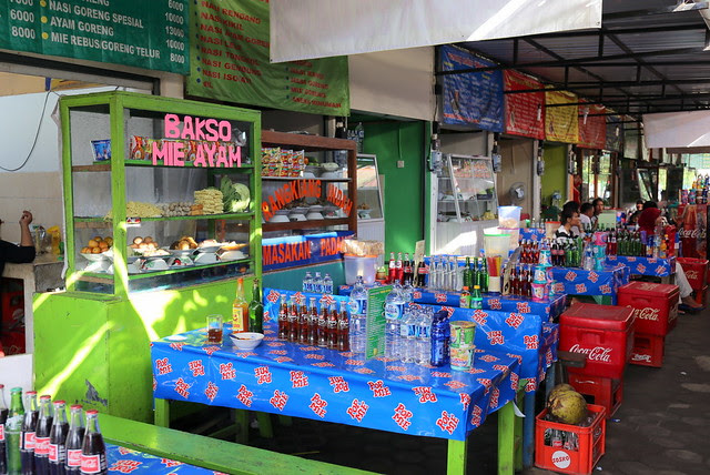 A row of food stalls at Prambanan Market