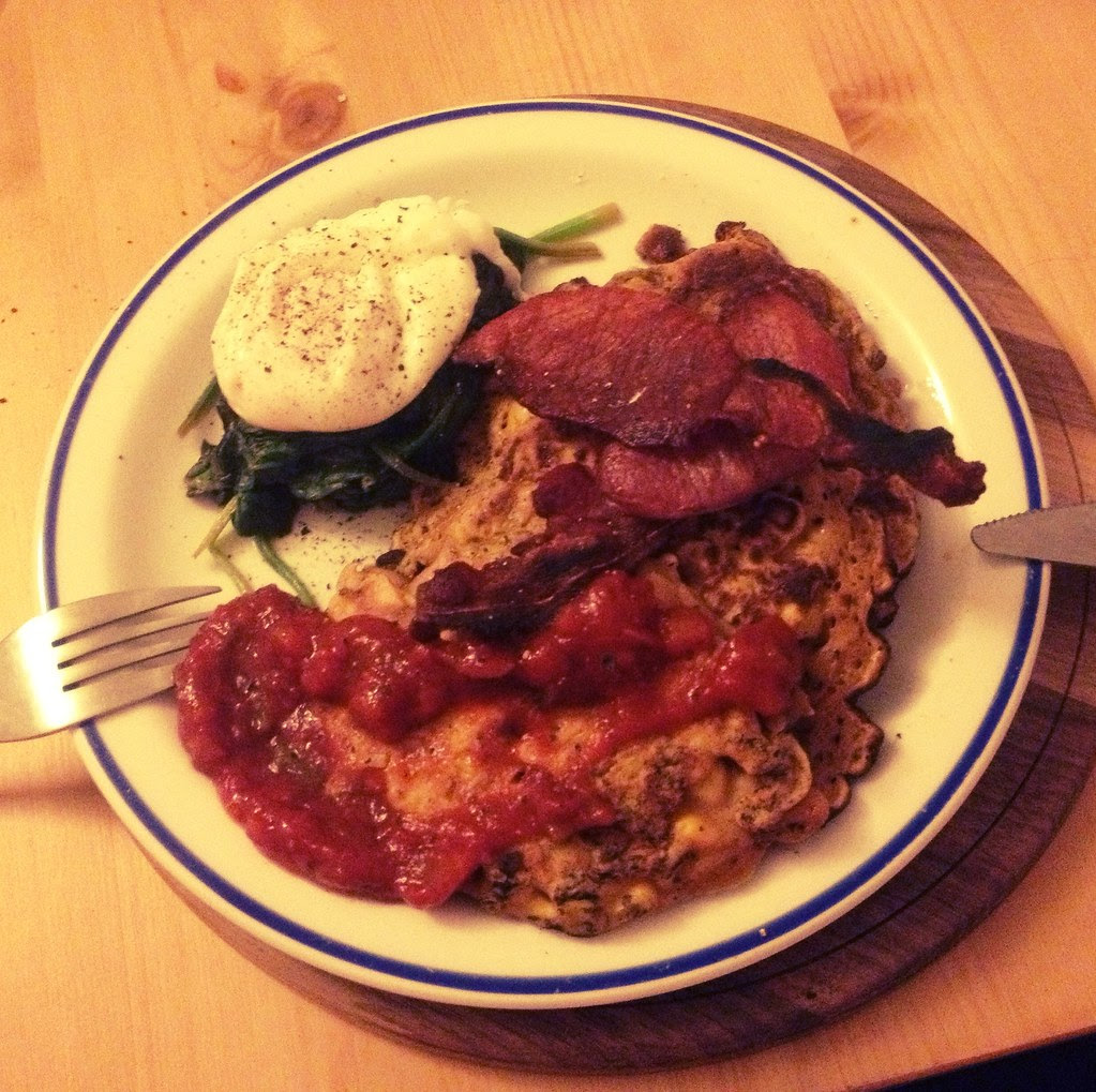 Corn Fritters, Poached Eggs, Wilted Spinach, Salsa