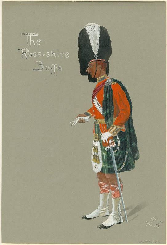 scottish kilt-wearing soldier with tall bearskin headwear - comic drawing