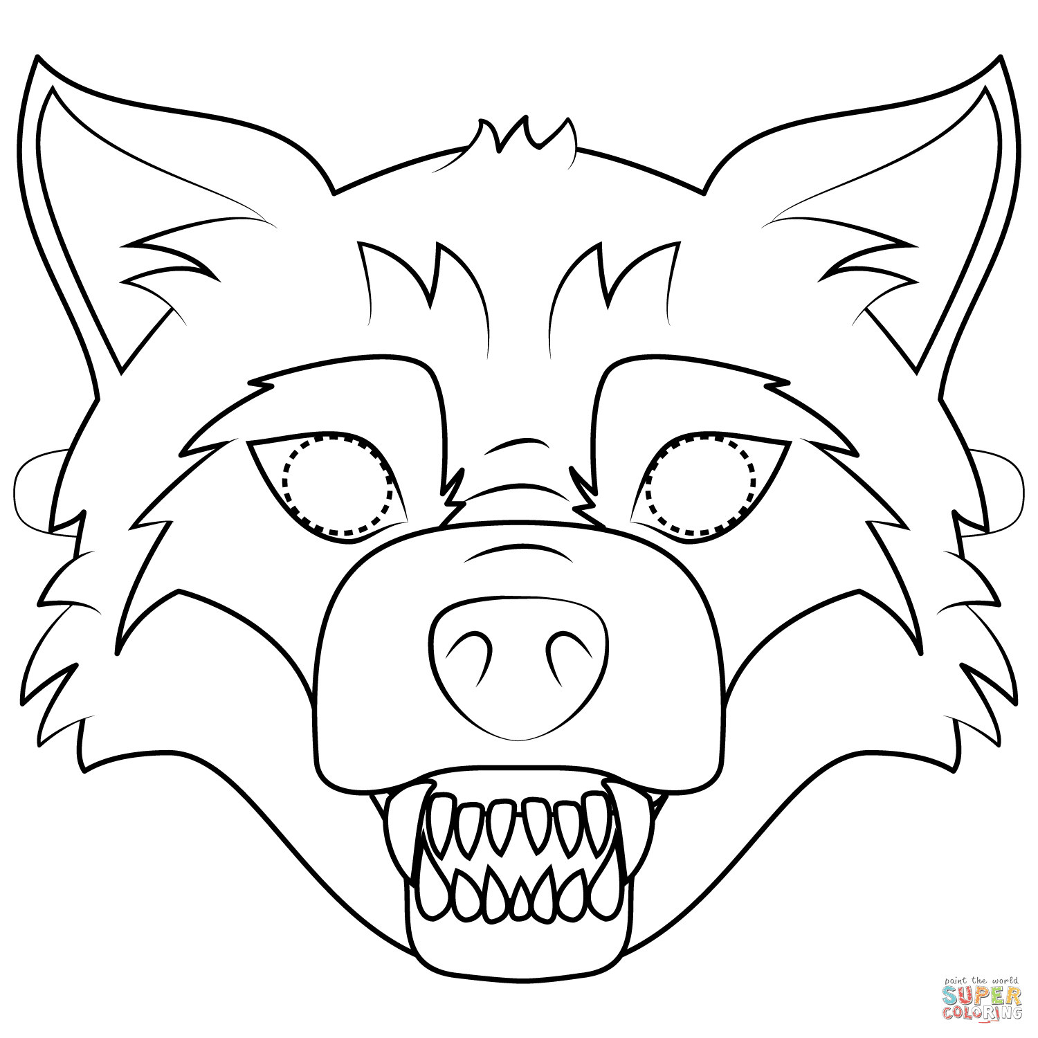 Big Bad Wolf Mask coloring page | Free Printable Coloring ...