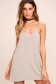 Go for Bold Light Grey Slip Dress