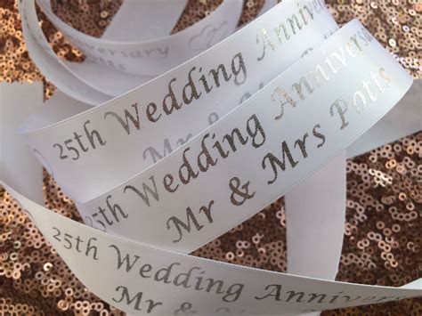 Personalised Silver Wedding Anniversary gift ribbon