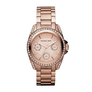 Michael Kors ladies' rose gold-plated stone set watch - Product number 1026127