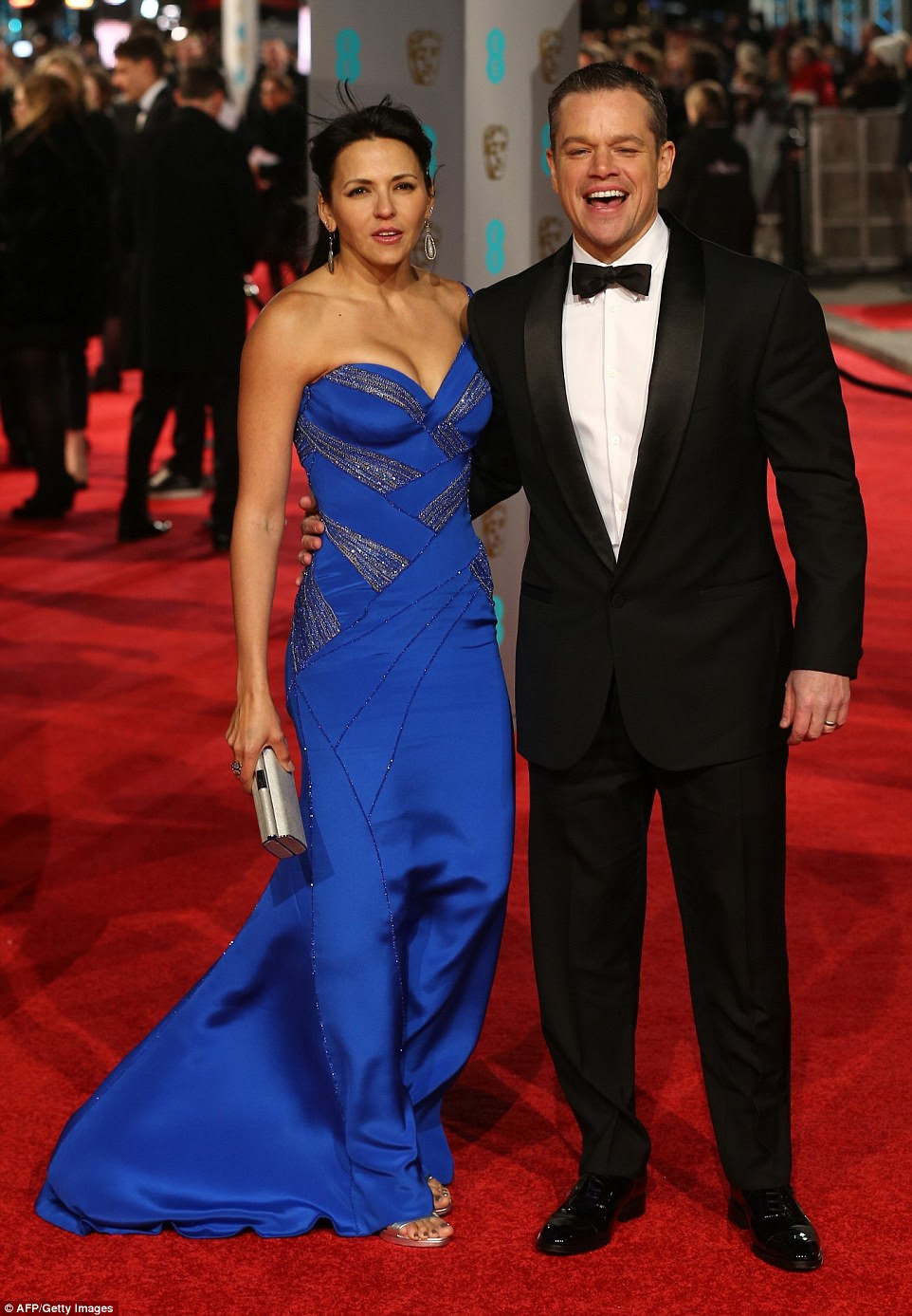 Stealing the show! The Martian actor's wife really stole the show from him, Luciana glowing in a royal blue satin gown