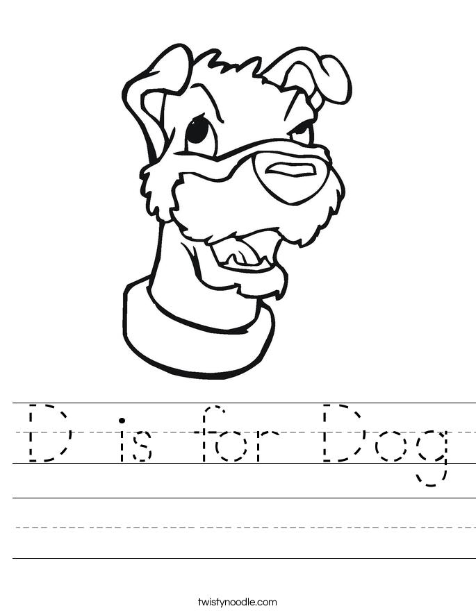 D is for Dog Worksheet - Twisty Noodle