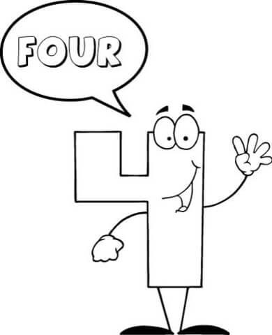 Dibujo De El Número 4 Se Dice Cuatro Para Colorear Dibujos Para