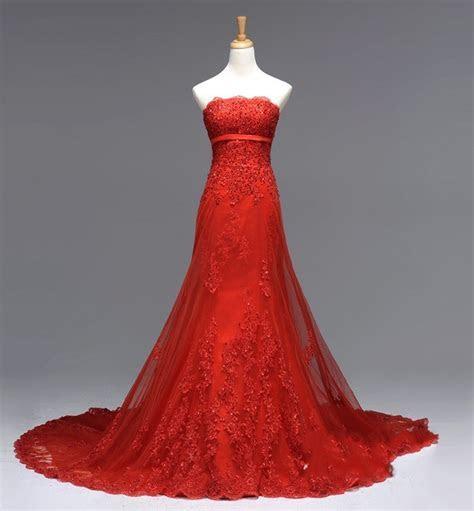 China Stock Bridal Wedding Dress Strapless White Red Ivory