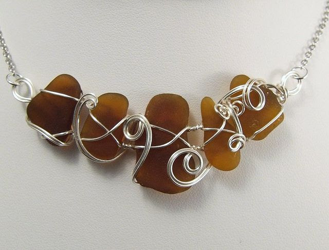 Seaglass Necklaces by Gayle Bird Designs, via Flickr