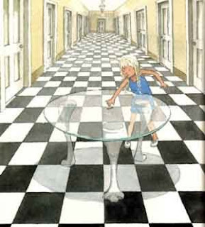 Alice in Wonderland Syndrome depicting surrealistic checkerboard patterns
