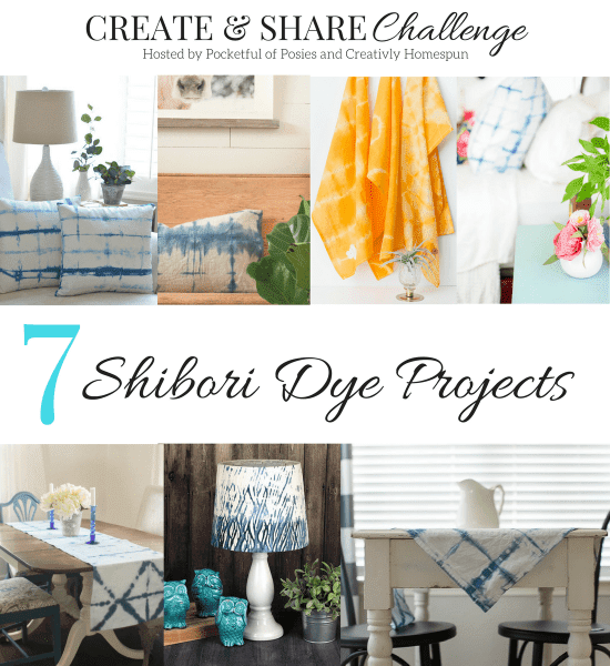 7 amazing shibori projects you can make and use for home decorating.  Pillows, lampshade, table linens and more!