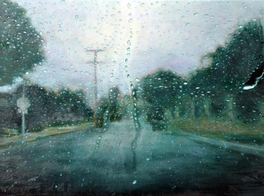 Katherine Kean, Connect the Drops, contemporary landscape painting, rain drops, road, green