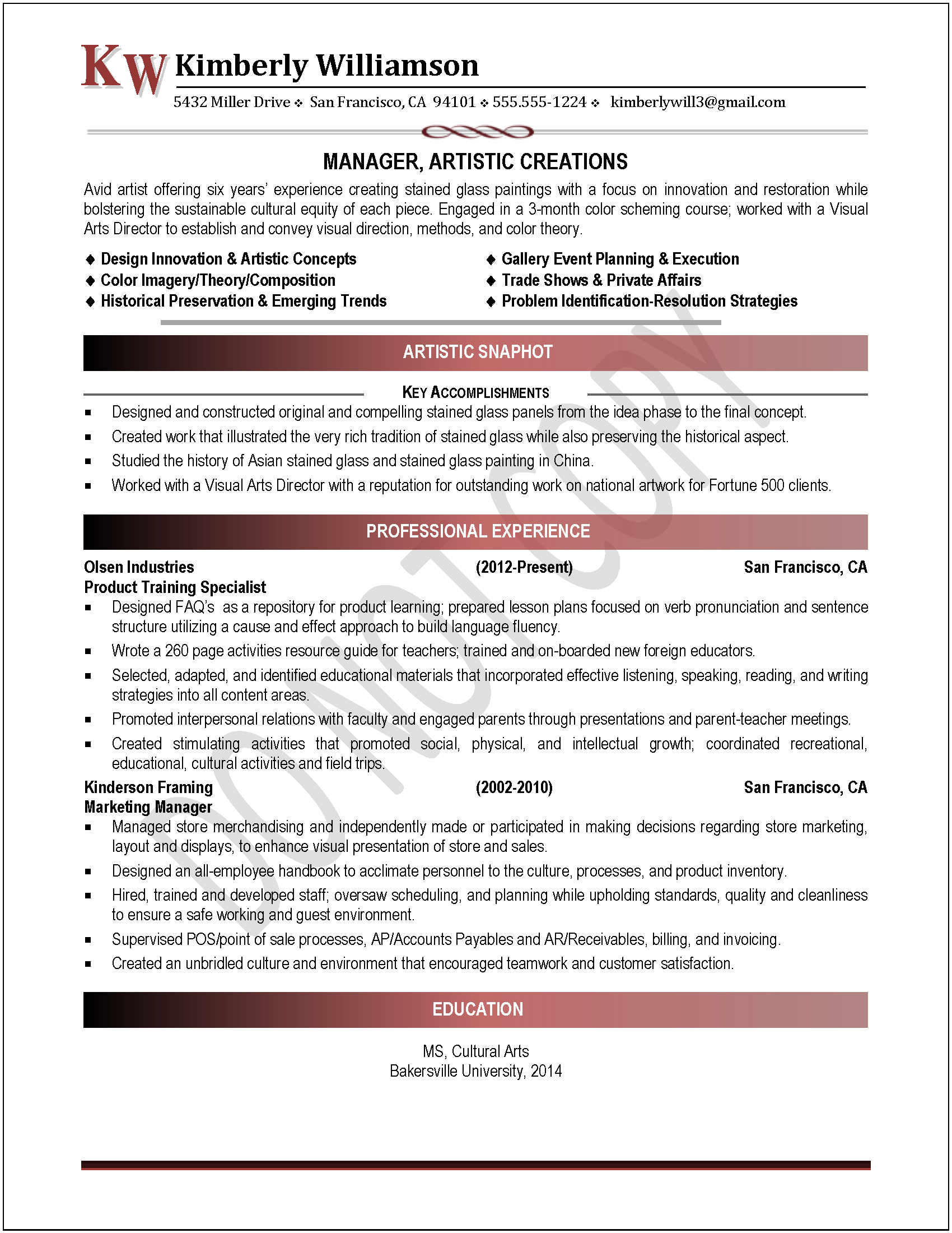 Example of a Professional Resume Art Director