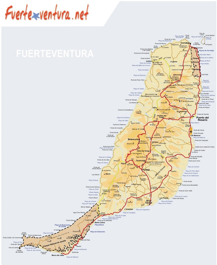 large detailed map of fuerteventura with beaches max
