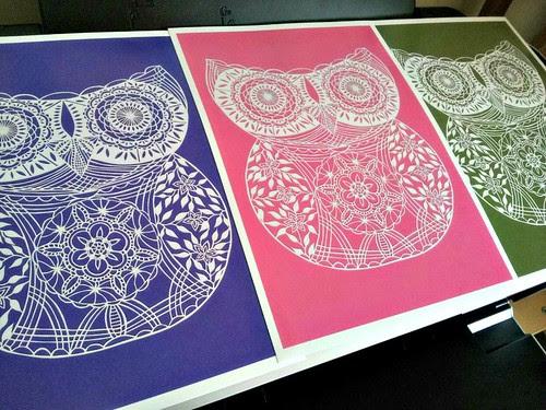 owl paper cutting