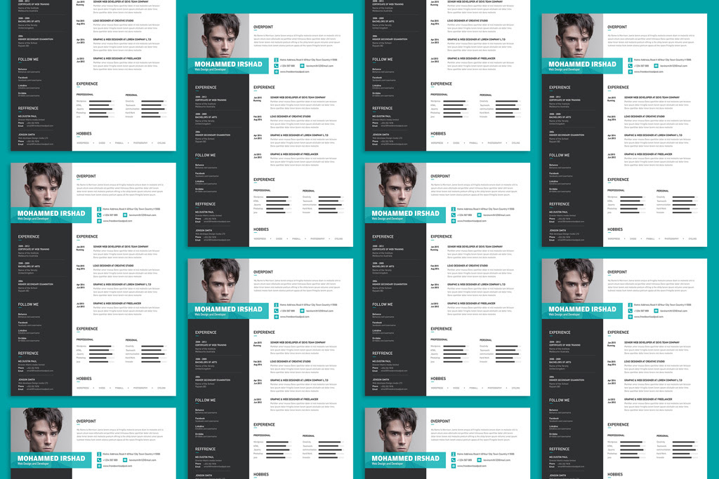 Free Modern Resume CV Design Template PSD File 2
