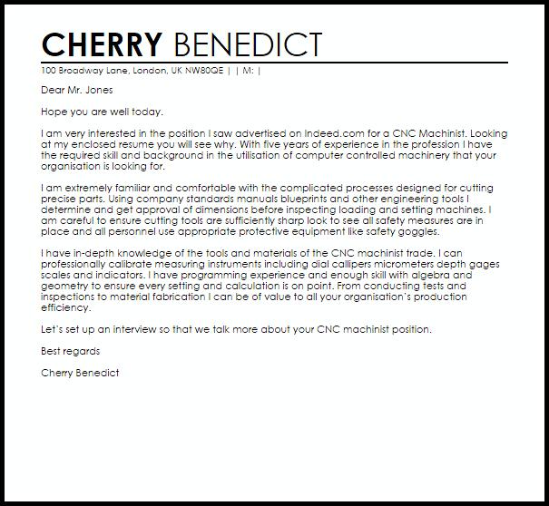 Cnc Programmer Cover Letter Sample Cover Letter