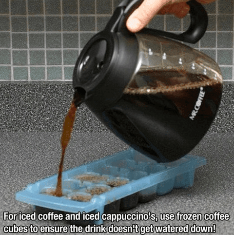 for iced coffee and iced cappuccino, use frozen coffee cubes