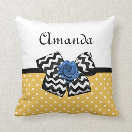Cute Yellow Dots Blue Rose Chevron Bow With Name Pillows